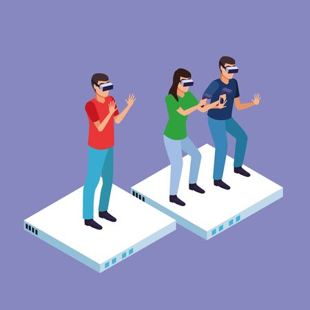 Friends playing with virtual reality glasses and gamepads on purple background vector illustration graphic design