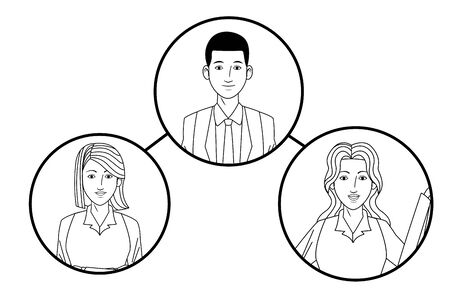 group of business people avatar cartoon character profile picture in round icon black and white vector illustration graphic design Illusztráció