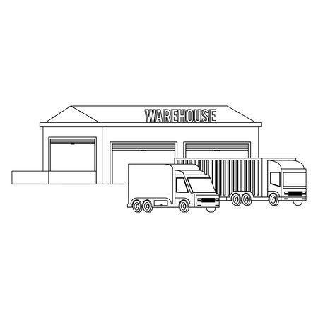 Warehouse storage building with cargo trucks vector illustration