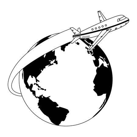 airplane flying around Earth planet icon over white background, black and white design. vector illustration