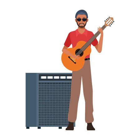 cartoon musician with guitar and sound amplifier over white background, colorful design. vector illustration Ilustração