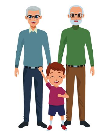 Family grandparents hand of with grandson cartoons vector illustration graphic design Illusztráció