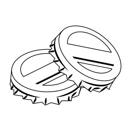 retro soda caps icon over white background, vector illustration Illusztráció