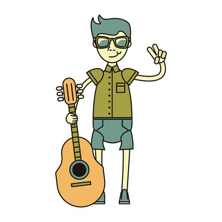 hipster boy with acoustic guitar isolated symbol Vector design illustration