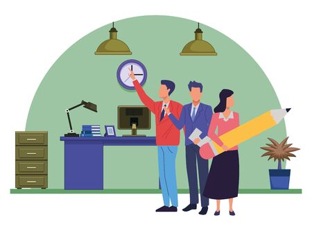 Group of business partners with business and symbols, executive entrepreneur teamwork inside office with desk and drawer vector illustration graphic design.