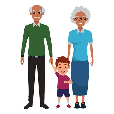 Family grandfather and grandmother with little grandson vector illustration graphic design