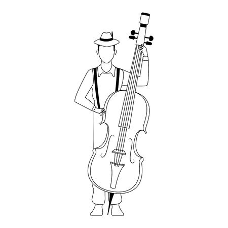 cartoon musician with a cello over white background, flat design. vector illustration