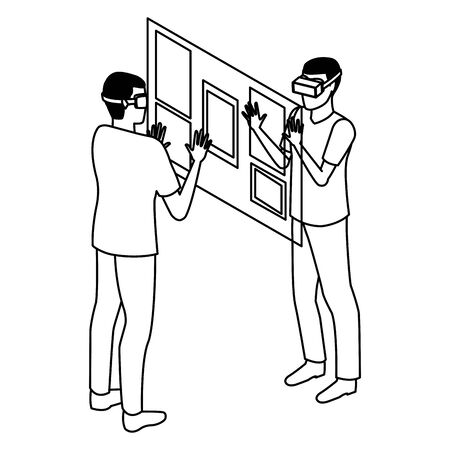 virtual reality technology, young men friends living a modern digital experience with headset glassestouching screen cartoon vector illustration graphic design Çizim