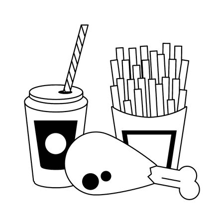 Food french fries and chicken with soda cup to go vector illustration graphic design Иллюстрация