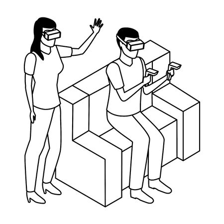 virtual reality technology, young couple living a modern digital experience with headset glassesand joysticks cartoon vector illustration graphic design