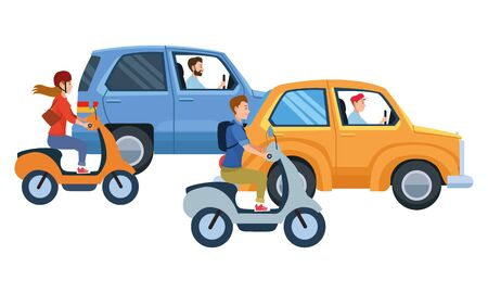 Vehicles and motorcycles drivers riding with helmet in the traffic illustration graphic design. Banque d'images - 133215466