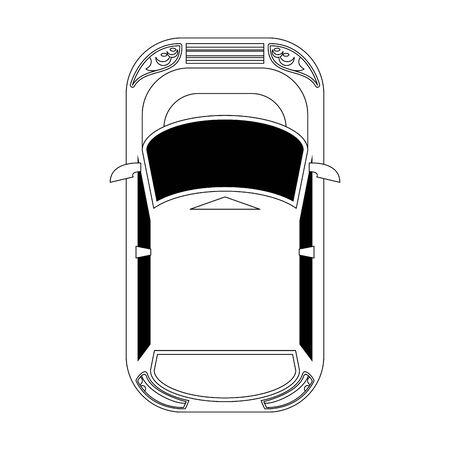 top view of hatchback car icon over white background Banque d'images - 133215485