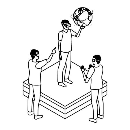 virtual reality technology, young men friends living a modern digital experience with headset glassestouching world map cartoon vector illustration graphic design Çizim