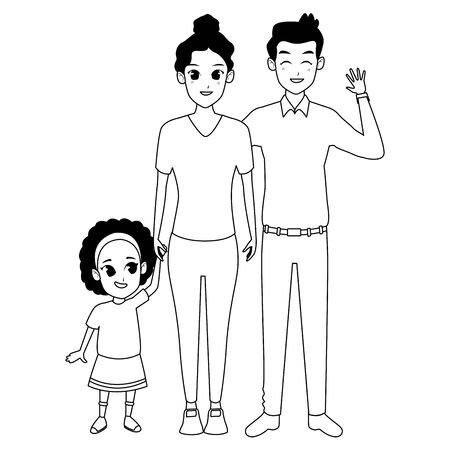 Family young father and mother with little daughter illustration graphic design