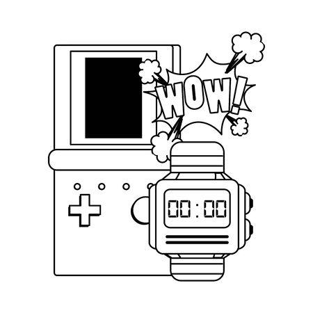 pop art design of retro videogame portable and watch over white background, vector illustration 일러스트