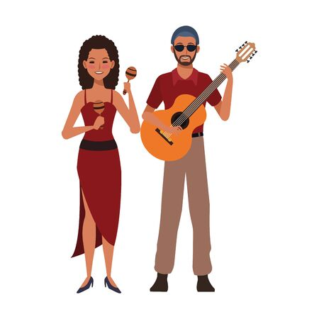 woman playing maracas and musician with a guitar over white background, colorful design. vector illustration