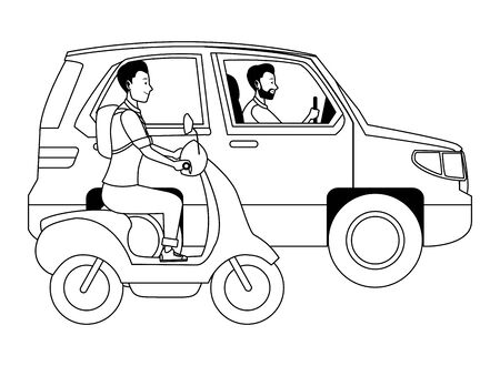 Vehicle and motorcycle drivers riding with helmet in the traffic vector illustration graphic design. Banque d'images - 133227330