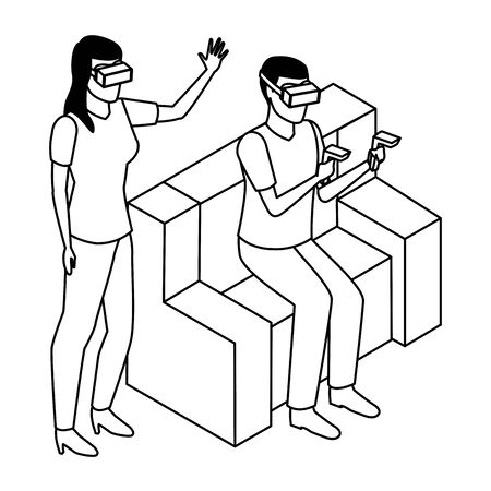 virtual reality technology, young couple living a modern digital experience with headset glasses and joysticks cartoon vector illustration graphic design