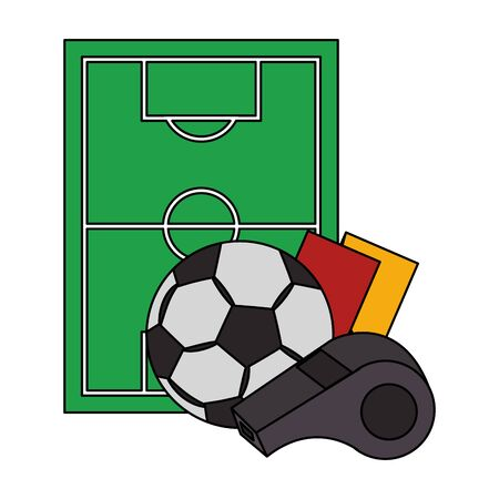 soccer football sport game competition play activity, referee and game objects cartoon vector illustration graphic design