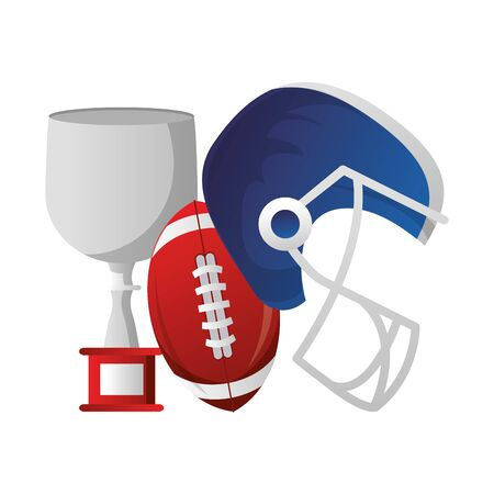 american football sport game champion trophy with ball and helmet cartoon vector illustration graphic design 向量圖像
