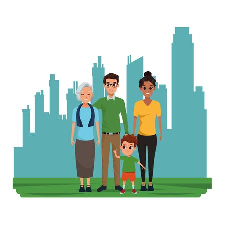 Family dad and mom with grandmother with boy in the cirty, urban scenery background ,vector illustration graphic design.