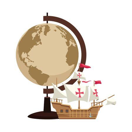 Carte du monde rétro avec conception d'illustration vectorielle de navigation de navire