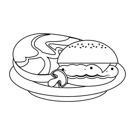 Barbecue food hamburger and steak with mushroom in dish vector illustration graphic design