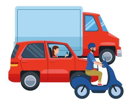 Véhicules et conducteurs de motos circulant avec un casque dans la conception graphique d'illustration vectorielle de trafic.