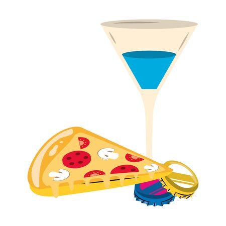 pizza slice and Martini cocktail icon over white background, vector illustration Illusztráció