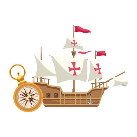 antique caravel ship with compass navigation vector illustration design
