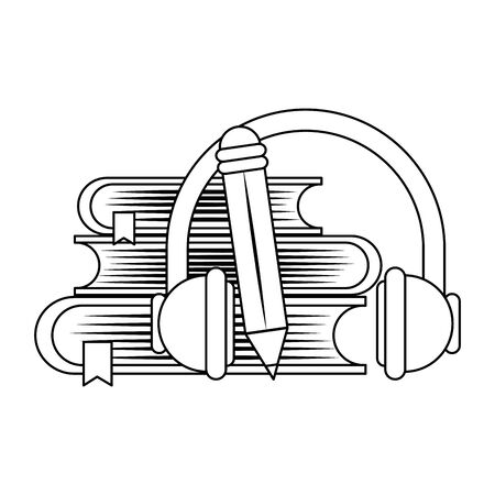 books with headphones and pencil over white background, vector illustration Standard-Bild - 133239889