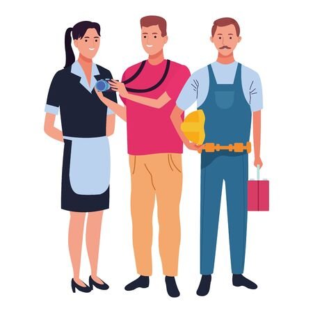 Professionals workers smiling with work tools cartoons ,vector illustration. Illustration