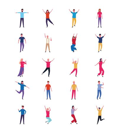 set of people dancing and having fun over white background, colorful design. vector illustration Standard-Bild - 133239914