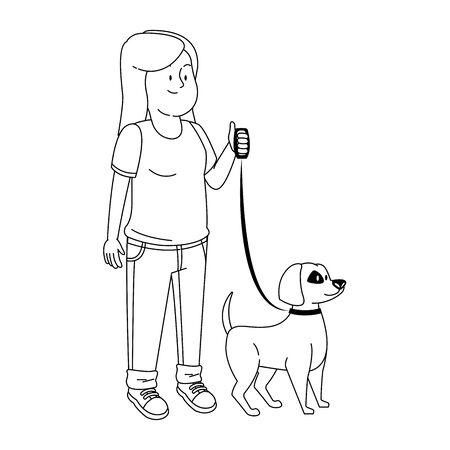 Teenager-Mädchen mit süßem Hund-Symbol auf weißem Hintergrund, Vektor-Illustration Vektorgrafik