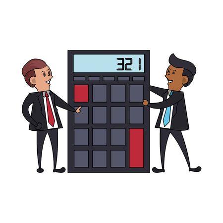 business executive corporate men coworkers partners making money accounts with calculator cartoon vector illustration graphic design Illusztráció