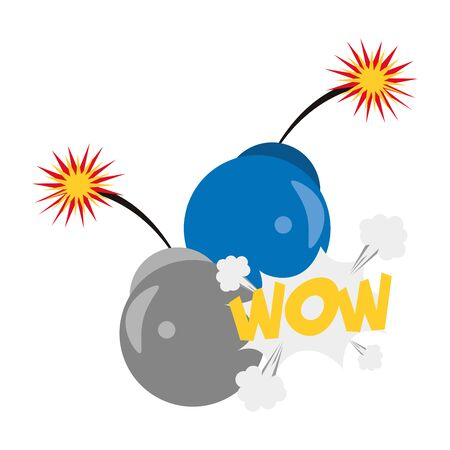 bombs with burning fuses and pop art design of wow word exclamation over white background, vector illustration Ilustração