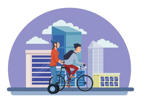 Young friends riding bike and electric scooter in the city urban buildings scenery in the city urban scenery background ,vector illustration graphic design. Çizim