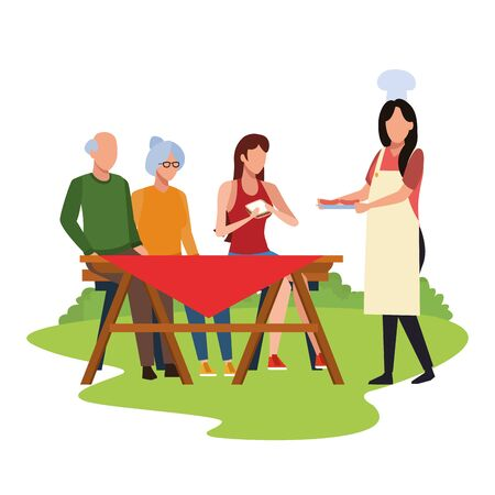 avatar friends eating sandwiches and enjoying a picnic time outdoor over white background, colorful design , vector illustration Illusztráció