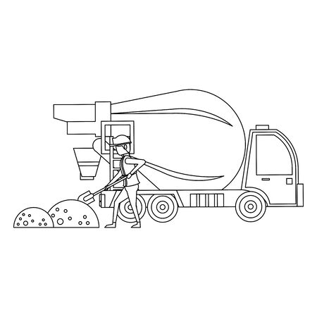construction architectural engineering work, heavy concrete mixer truck with worker cartoon vector illustration graphic design
