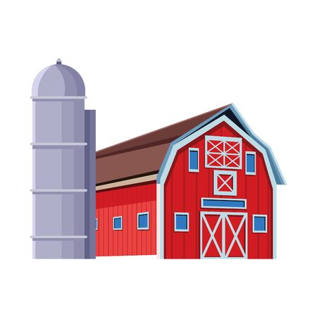wooden farm barn and granary icon over white background, vector illustration