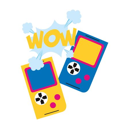 pop art design of retro portable videogames over white background, colorful design. vector illustration