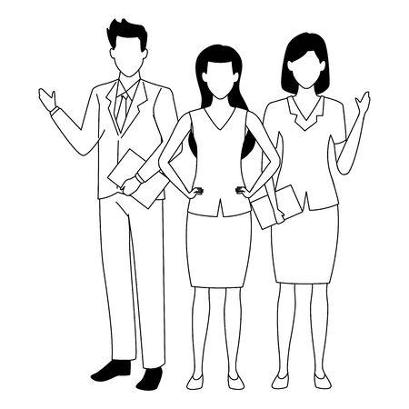 Group of business partners with business and symbols, executive entrepreneur teamwork ,vector illustration graphic design. Illusztráció