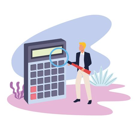 business professional executive successful work, man working for project idea with calculator cartoon vector illustration graphic design