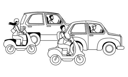 Vehicles and motorcycles drivers riding with helmet in the traffic vector illustration graphic design. Banque d'images - 133235714