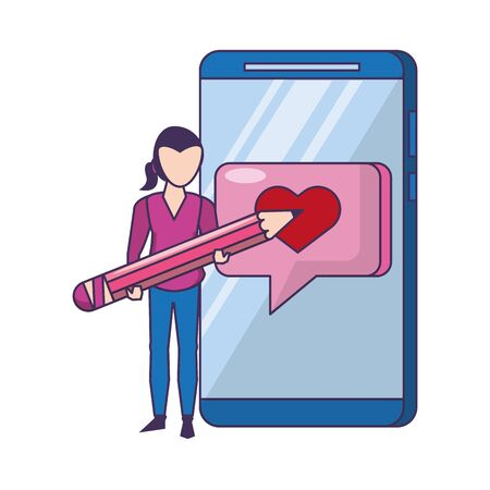 technology web digital network hardware, smartphone chatting network app cartoon vector illustration graphic design