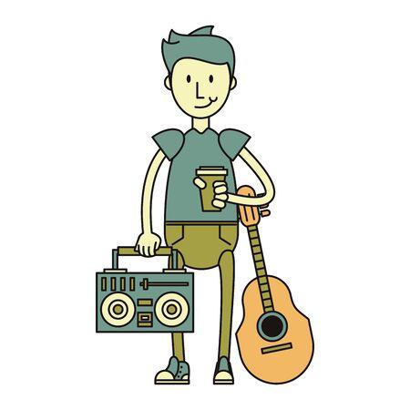 hipster boy with acoustic guitar and sterero isolated symbol Vector design illustration Ilustração