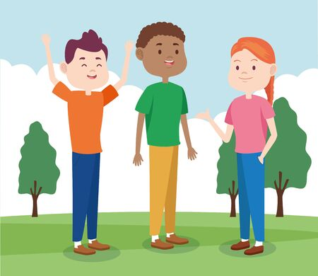 cartoon cool teenage friends in the park, colorful design , vector illustration