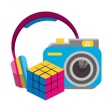 retro camera with headphones and scramble cube over white background, vector illustration Standard-Bild - 133237323