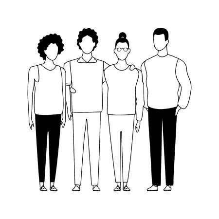 avatar young friends standing icon over white background, vector illustration Ilustrace