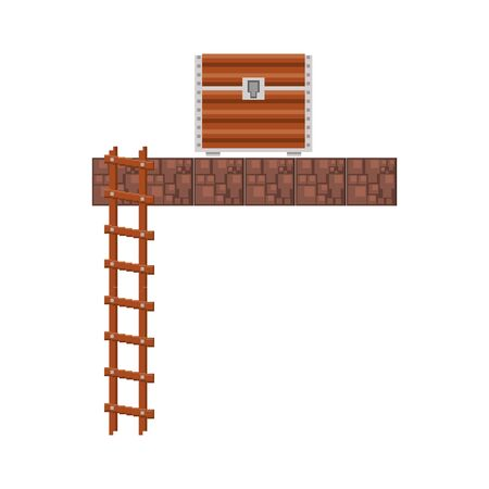 videogame pixelated retro art digital entertainment, wooden coffer and stair cartoon vector illustration graphic design